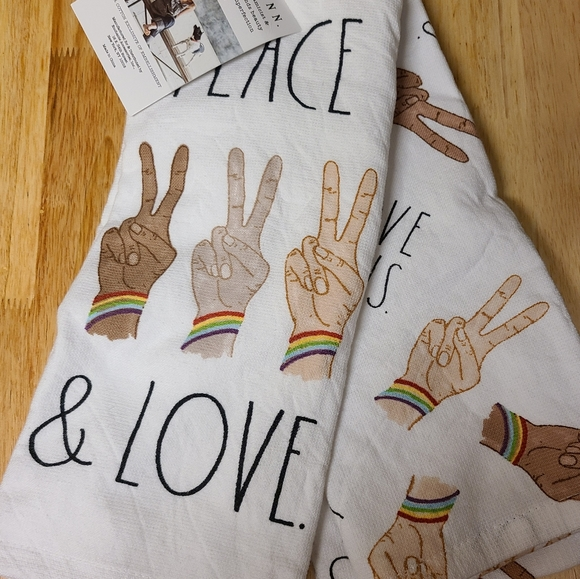 Peace and love Rae dunn kitchen towels